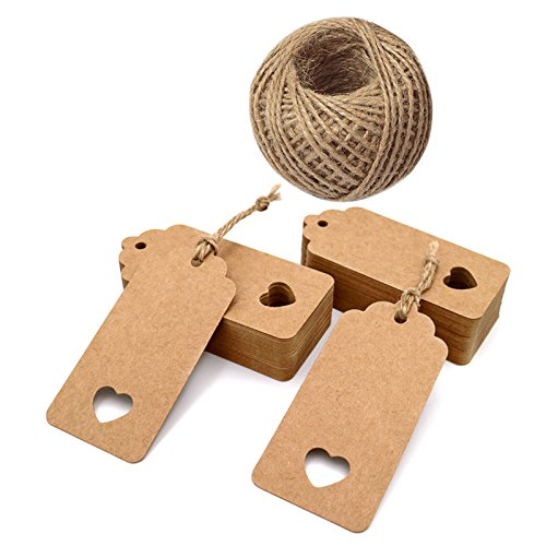 jijAcraft Kraft Paper Gift Tags,100PCS Brown Gift Tags for Crafts and Christmas, 4.5x9.5cm Lovely Hollow Heart Wedding Favour Name Tags with 30M Jute Twine String
