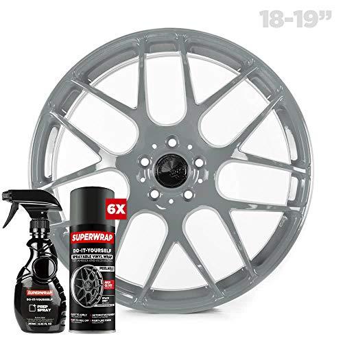 Superwrap Envoltura de vinilo pulverizable – Acabado brillante – Cubre 4 ruedas de coche hasta 19 pulgadas o 2 ruedas de motocicleta – Kit de rueda (gris espacial)