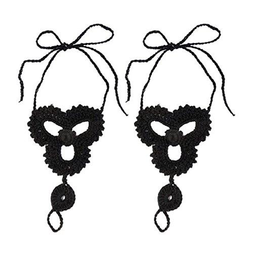 LEORX Pie joyas Crochet playa descalzo sandalia tobillera cadena pie dedo anillo -1 par
