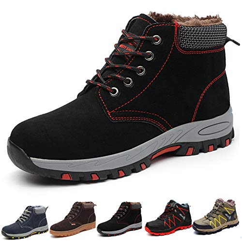 Gainsera Safety Boots for Men Women Winter Work Shoes Plush Safety Shoes Steel Toe Anti-Slip Warm Indoor...