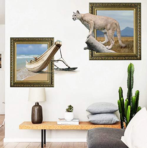 Nuevas pegatinas de pared de dibujos animados en 3D de gran tamaño pegatinas de patrón de animales de leopardo sala de estar realista exposición de decoración