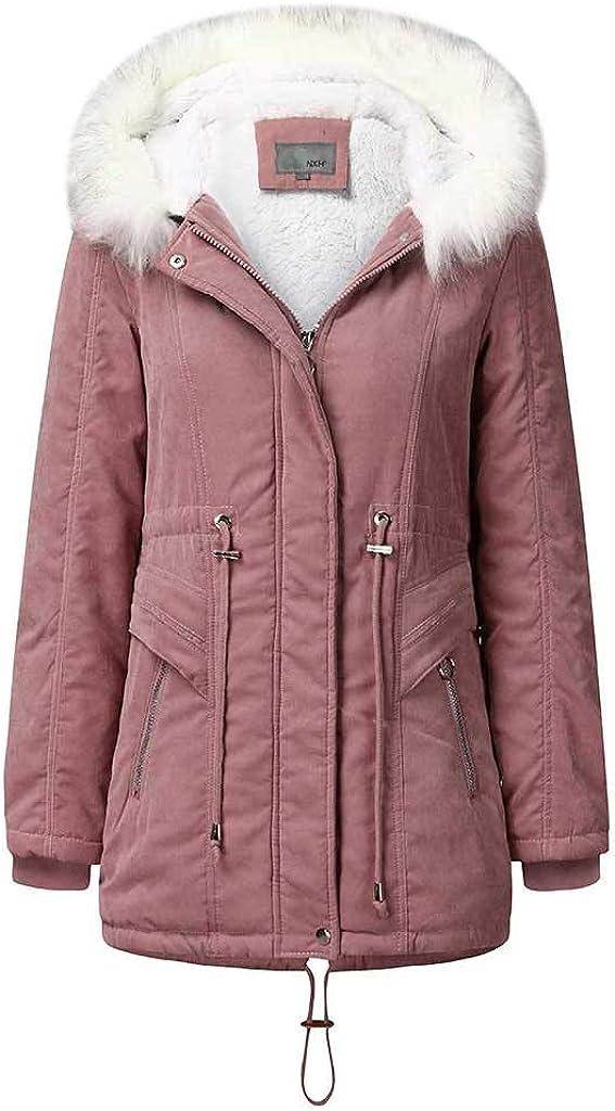 Winter Plus Size Coats for Women with Hood Warm Thicken Faux Fur Parka Jackets Coats Outwear Windbreaker