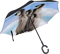 Reverse Umbrella Penguin Brothers Windproof Double Layer Inverted Umbrella Anti-UV Protection with C-Shaped Handle for Car Outdoor Use
