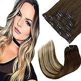 LaaVoo 16 Pulgadas 5pcs Remy Extensiones de Pelo Clip in Cabello Humano #3/6/24 Marrón más Oscuro a Marrón Medio y Rubio Claro Real Remy Hair 70g Per Set