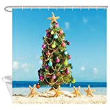 KOTOM Christmas Shower Curtain, Christmas Tree and Starfish on The Beach, Polyester Fabric Bath Curtains with Hooks 69W X 70L Inches