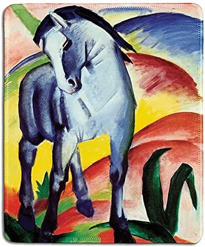 Alfombrilla de ratón de goma natural con famosa pintura de caballo azul de Franz Marc - bordes cosidos, 24 x 20 cm