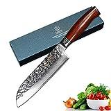 YARENH Cuchillo Santoku Damasco 18 cm - Cuchillos de Cocina Profesionales de Acero de Japoneses Damasco & Mango de Madera Dalbergia - Cuchillo Cocina Global HTT-Serie