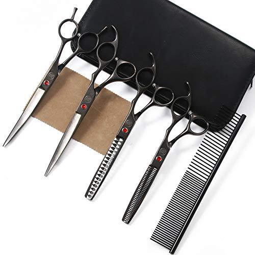 Moontay Tijeras de piel de 7 pulgadas juego de tijeras de aseo para perros tijeras profesionales para el aseo de mascotas con tijeras curvas / rectas / gruesas / adelgazantes negras