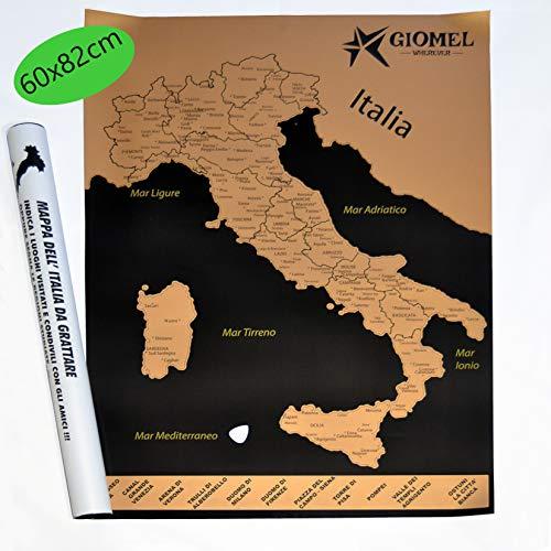 Mappa Italia da Grattare Regalo Viaggiatori e Camperisti Diario di Viaggio Camper Cartina Studenti Scratchable