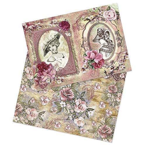 Ideen mit Herz 2 Bogen Reispapier | Edel-Decoupage-Papier | DIN A4 | 2 Verschiedene Designs | Vintage, Weihnachten und andere (Nostalgie 02)