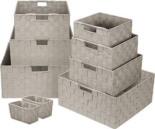 Sorbus Storage Box Woven Basket Bin Container Tote Cube Organizer Set Stackable Storage Basket Woven Strap Shelf Organizer Built-in Carry Handles (Beige)