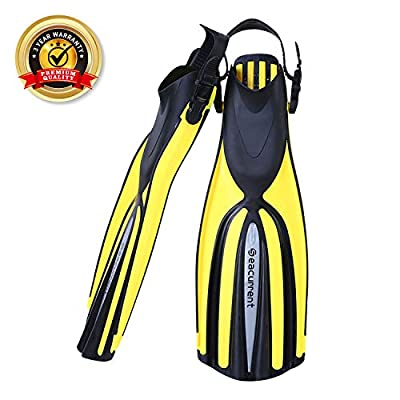Seacurrent Scuba Diving Fins, Open Heel Adjustable Split Fins, for All Diving and Snorkeling (Yellow, L/XL)