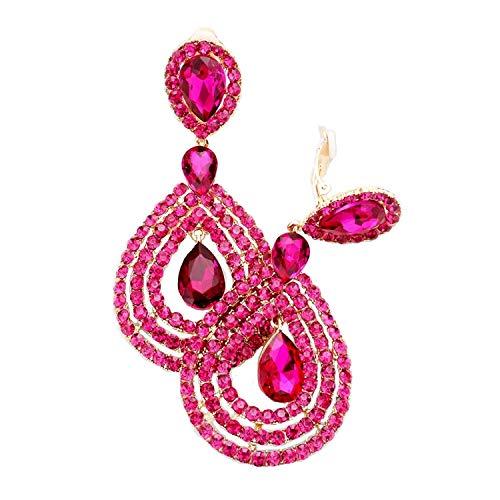 Schmuckanthony Hoernel - Pendientes largos de clip de cristal rosa fucsia de 9,5 cm de largo