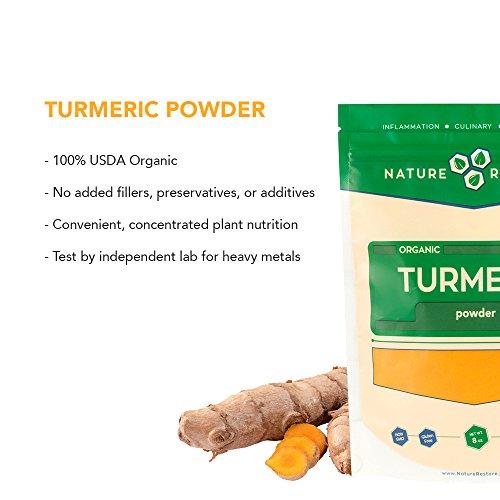 USDA Certified Organic Turmeric Powder with Natural Curcumin, Non-GMO and Gluten-Free (8 Ounces)
