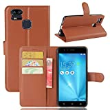 Tasche für Asus ZenFone 3 Zoom ZE553KL (5.5 zoll) Hülle, Ycloud PU Ledertasche Flip Cover Wallet Hülle Handyhülle mit Stand Function Credit Card Slots Bookstyle Purse Design braun