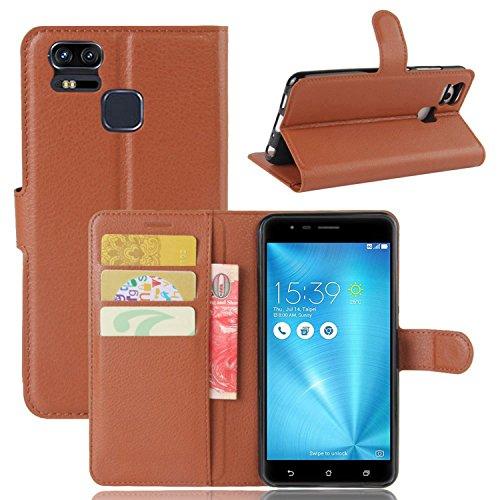 Tasche für Asus ZenFone 3 Zoom ZE553KL (5.5 zoll) Hülle, Ycloud PU Ledertasche Flip Cover Wallet Hülle Handyhülle mit Stand Function Credit Card Slots Bookstyle Purse Design braun