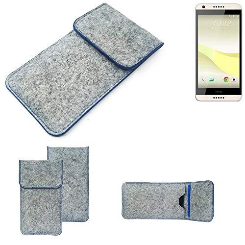 K-S-Trade Filz Schutz Hülle Für HTC Desire 650 Schutzhülle Filztasche Pouch Tasche Hülle Sleeve Handyhülle Filzhülle Hellgrau, Blauer Rand