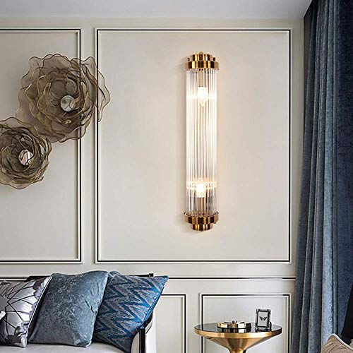RONGW JKUNYU Lámpara de pared para dormitorio con forma cilíndrica de cristal para sala de estar, lámpara de pared, color dorado, 15,5 x 10 x 60 cm
