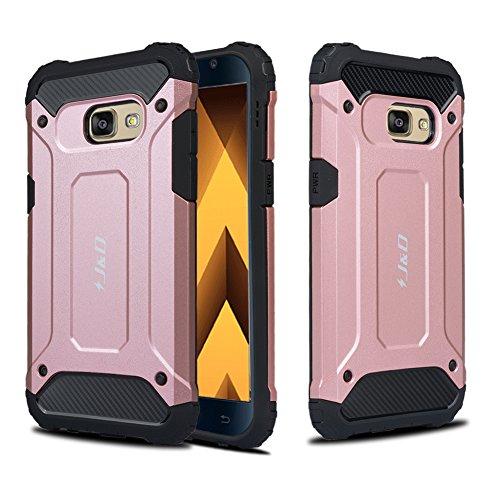 J&D Kompatibel für Galaxy A3 2017 Hülle, [ArmorBox] [Doppelschicht] [Heavy-Duty-Schutz] Hybrid Stoßfest Schutzhülle für Samsung Galaxy A3 (Release in 2017) - Rose Gold