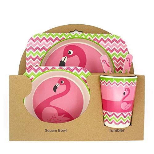 Flamingo Vaisselle Naturel Bio de fibres de bambou Motif flamant enfant dîner kit, enfants alimentation Bambou Vaisselle Couverts Assiettes bols