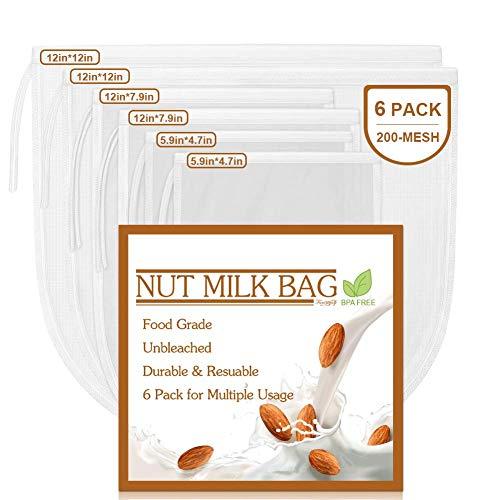 6 Pack Nut Milk Bag, Reusable Food Strainer for Almond/Soy Milk Greek Yogurt, Cheesecloth Bag Yogurt Strainer, Juice Filter, Cold Brew Coffee, Tea Bag, Milk Filters, 200 Mesh/Inch Ultra Fine Mesh