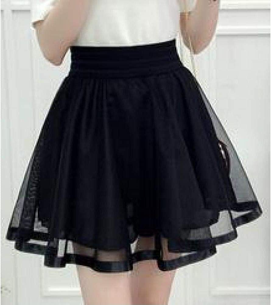 High-Waist Pleated Skirt with Lace Yarn Wiring