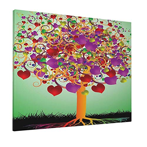 """Tree of Life Decor Colorful Magic Love Tree with Blossomed Heart and Round Leaves and Roots Life Decorative Multipainting 16"""" X 20"""" Panoramic Canvas Wall Art"""