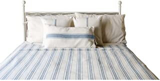 Home Collections by Raghu 94x104 Queen Grain Sack Stripe Colonial Blue-Cream Bed Cover
