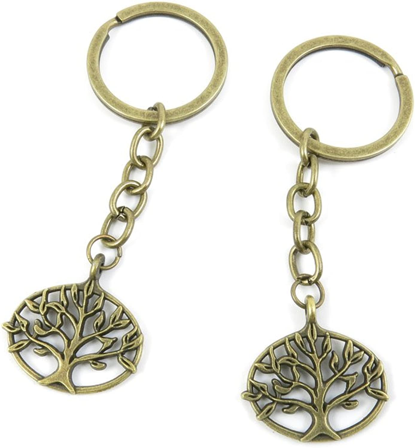 100 PCS Keyrings Keychains Key Ring Chains Tags Jewelry Findings Clasps Buckles Supplies X2RK0 Tree Oak