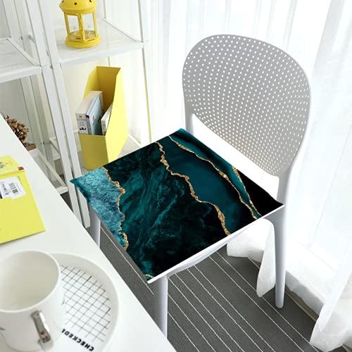 Cómodo cojín de silla cojines de asiento para sillas de comedor Pad verde esmeralda mármol paisajes cuadrados cubierta extraíble interior exterior sala de estar patio jardín oficina cafetería
