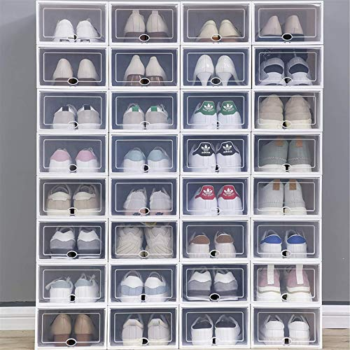 24 Pack Shoe Boxes Stackable Clear Shoe Storage Box - Storage Bins Shoe Container Organizer - Clear Container Organizers for Shoes - Sneaker Organizer Boot Shoe box