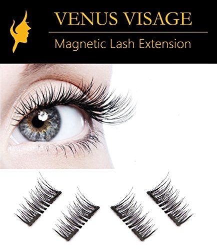 Dual Magnet False Magnetic Eyelashes by VENUS VISAGE 4 Pieces | 1/2 Lash Extension | Hand Made | Ultra Thin and Lightweighted