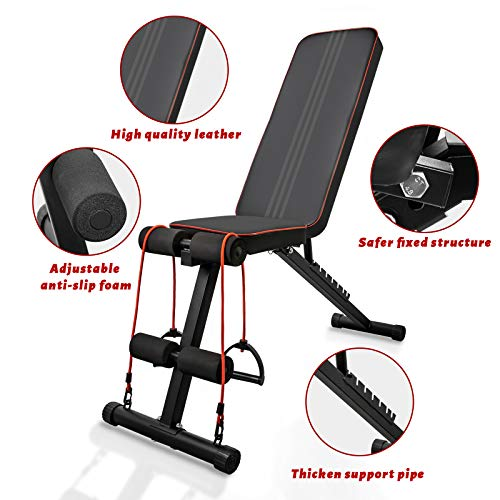 QingAn Adjustable Weight Bench for Home Gym, Foldable Incline Strength Training Bench for Full Body Workout,Decline Sit Up Bench with Elastic Ropes for Fitness Exercises and Weight Training