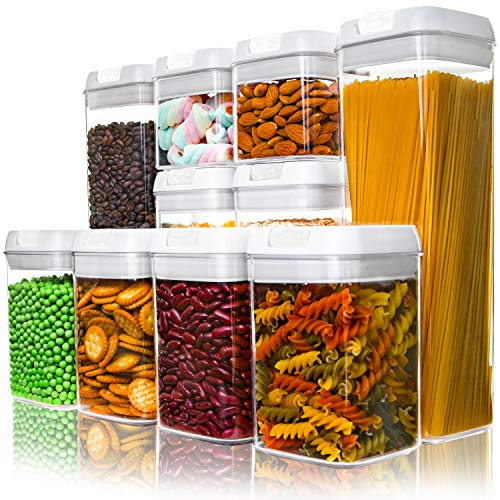 Numyton Airtight Food Storage Containers Cereal Containers 10-Piece Set with Easy Lock Lids BPA-free Plastic for Kitchen Pantry Storage and Organization