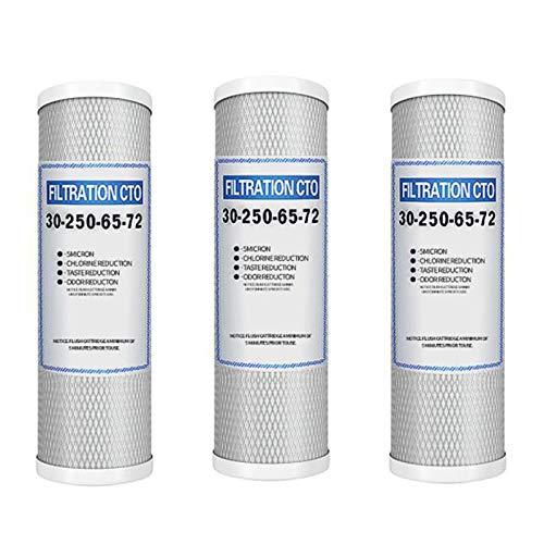 Kaxofang Elementos de Filtro de Carbono Comprimido de 3 Piezas de 10 Pulgadas, Purificador de Agua DoméStico, Elementos de Filtro cto Universales de Carbono Red de Prensa