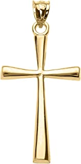 Solid 10k Yellow Gold Simple Cross Pendant