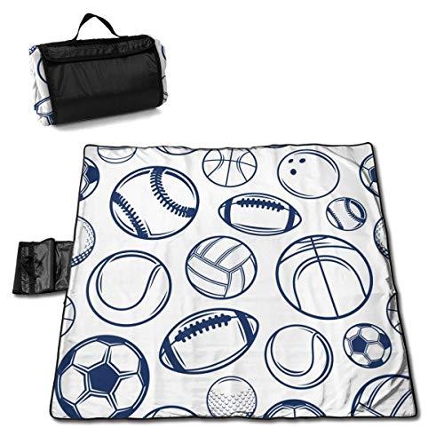 Olie Cam Vector Blue Sport Balls Nahtlose Muster-Picknickdecke mit handtragender sanddichter Outdoor-Picknickmatte