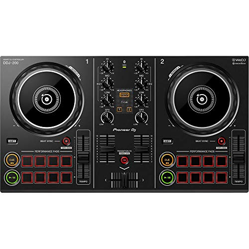 Pioneer DDJ-200 - Controller entry-level Bluetooth per DJ utilizzabile con smartphone, Nero