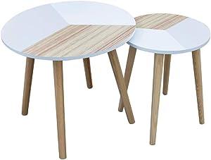 THE HOME DECO FACTORY Lot de 2 Tables Gigognes Tricolore Plateau Rond, Bois-MDF, Blanc, Beige, M, L