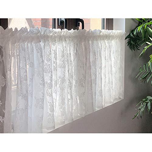 Visillo Térmica Aislante Moderno Transparente Bordado Media Cortina Cortinas, para Baño, Salón, Cocina, 40 X 150 Cm, Blanco
