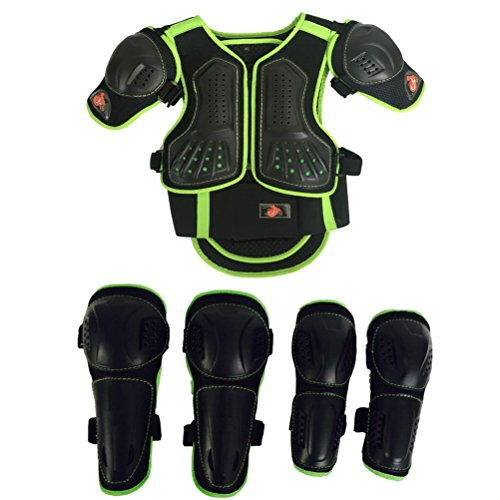 Takuey Kids Motorcycle Armor Suit Dirt Bike Chest Spine Protector Back Shoulder Arm Elbow Knee Protector Motocross Racing Skiing Skating Body Armor Vest Sports Safety Pads 3 Colors (Green, XS)