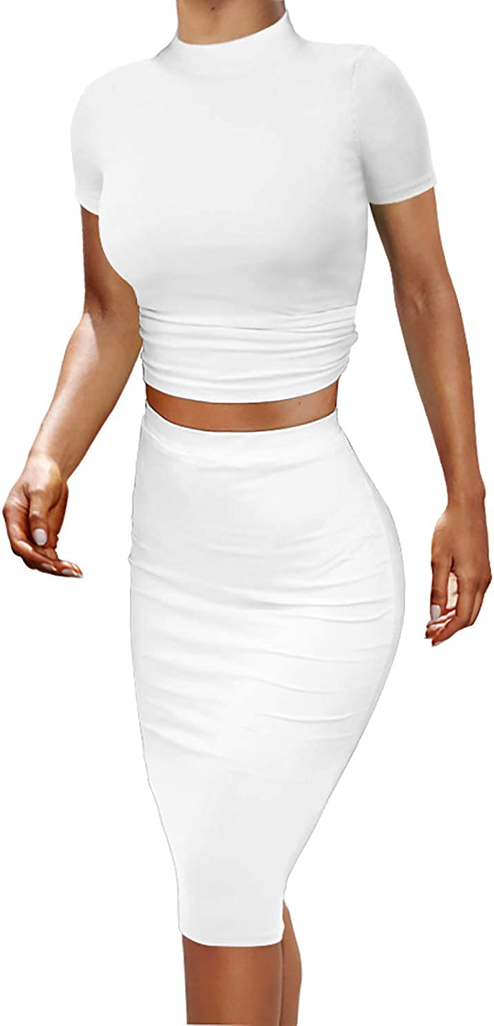 GOBLES Women's Short Sleeve 2 Pieces Outfits Bodycon Skirt and Ruched Crop Cami Top Sets