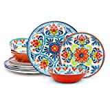Zak Designs Medallion Warm Durable Non-BPA Melamine Dinnerware 12pc Set Includes Dinner Plates, Salad Plates, and Individual Bowls, Service for 4