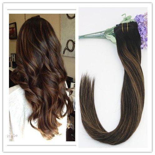 Lot de 9 extensions de cheveux raides à clips pour cheveux humains Remay Brun moyen 35,6 cm 40,6 cm 45,7 cm 50,8 cm 55,9 cm 70 g