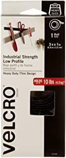 VELCRO Brand Industrial Strength Fasteners   Low Profile Thin Design   Professional Grade Heavy Duty Strength Holds up to 10 lbs on Smooth Surfaces   Indoor Outdoor Use   3ft x 1in Roll Tape, Black