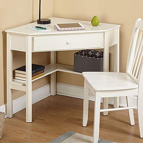 Wood Corner Desk,4HOMART Corner Computer Desk with One Storage Drawer and One Shelves, Writing Study Table Laptop PC Table for Home Office Use