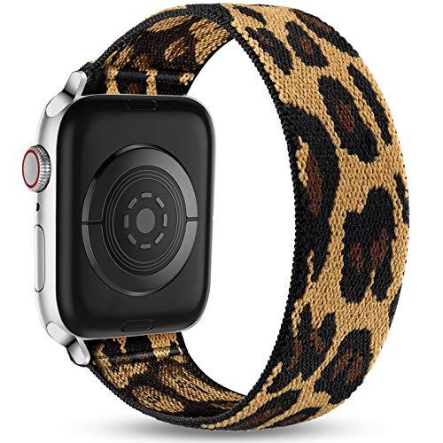 Ouwegaga Correa de Repuesto Compatible con Apple Watch 44mm 42mm 40mm 38mm, Pulsera Elástica de Nailon Suave Elástica Correa Compatible con iWatch Series SE 6 5 4 3 2 1, 42mm/44mm-S/M Leopardo