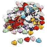 Color Mezclado Cristal Botón De Costura Del Corazón Decoración Artesanía Bricolaje 14mm 100pcs