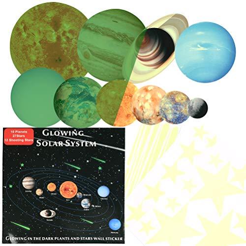 YOTINO 49 Planeten Wandsticker Leucht Wandsticker Kinderzimme Leuchtsticker Sonne Erde Sonnensystem Glühende Aufkleber Buchstabesticker Dunkeln leuchtend Sternenhimmel Fluoreszierend Wandaufkleber