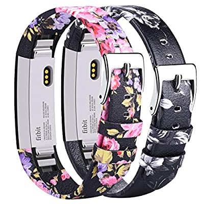 AK Bands Compatible with Fitbit Alta HR Bands, Genuine Leather Adjustable Comfortable Wristbands for Fitbit Alta HR/Fitbit Alta